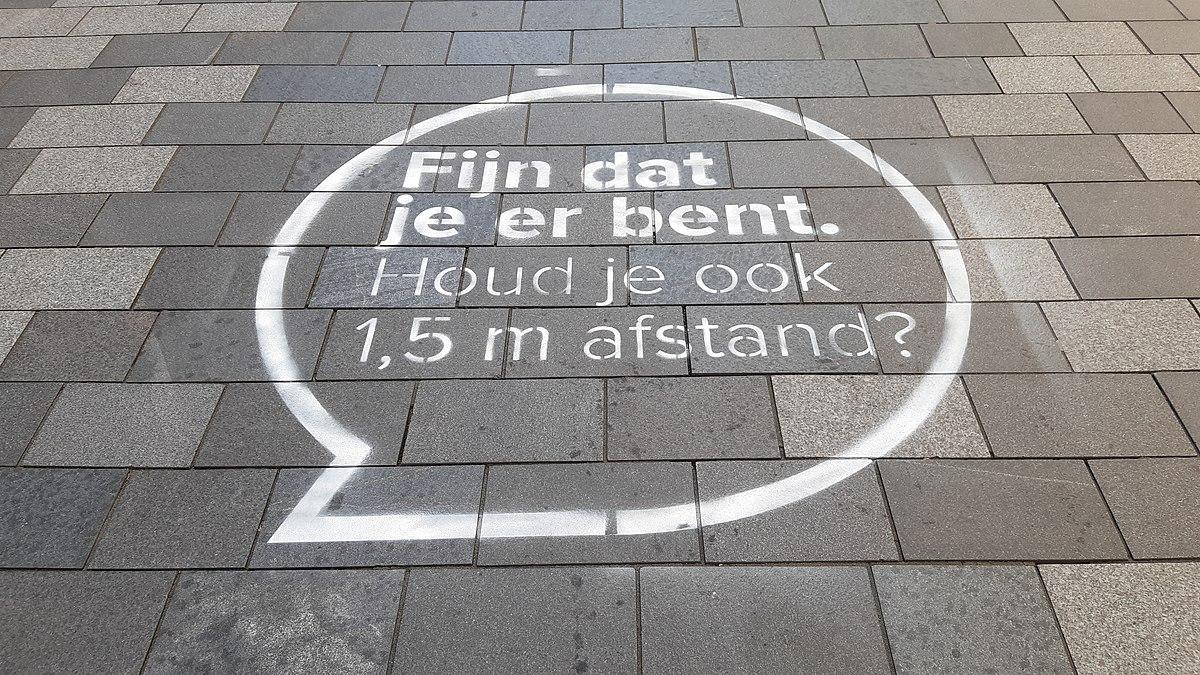 1200px Social distancing warning in City Plaza Nieuwegein